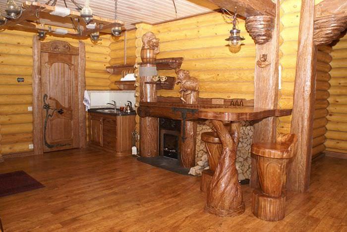 Оформление комнаты отдыха в русской бане