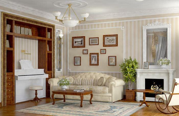 Интерьер гостиной современного дома в английском стиле