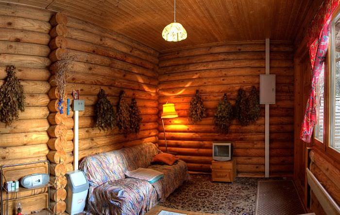 Гармоничный интерьер банной комнаты отдыха