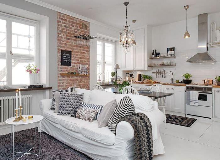 Дизайн кухни гостиной площадью в 16 кв метров в белом цвете