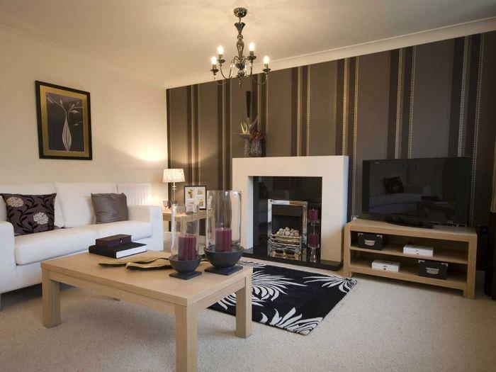 Сочетание коричневого цвета с бежевым в интерьере гостиной