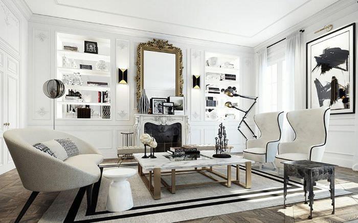Использование черного цвета в интерьере классической гостиной