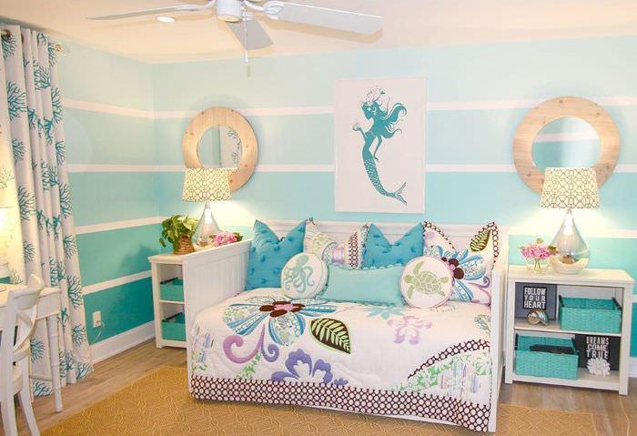 Оформление комнаты для девочки в морской стилистике
