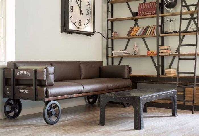Дизайн дивана в индустриальном стиле для ретро-интерьера