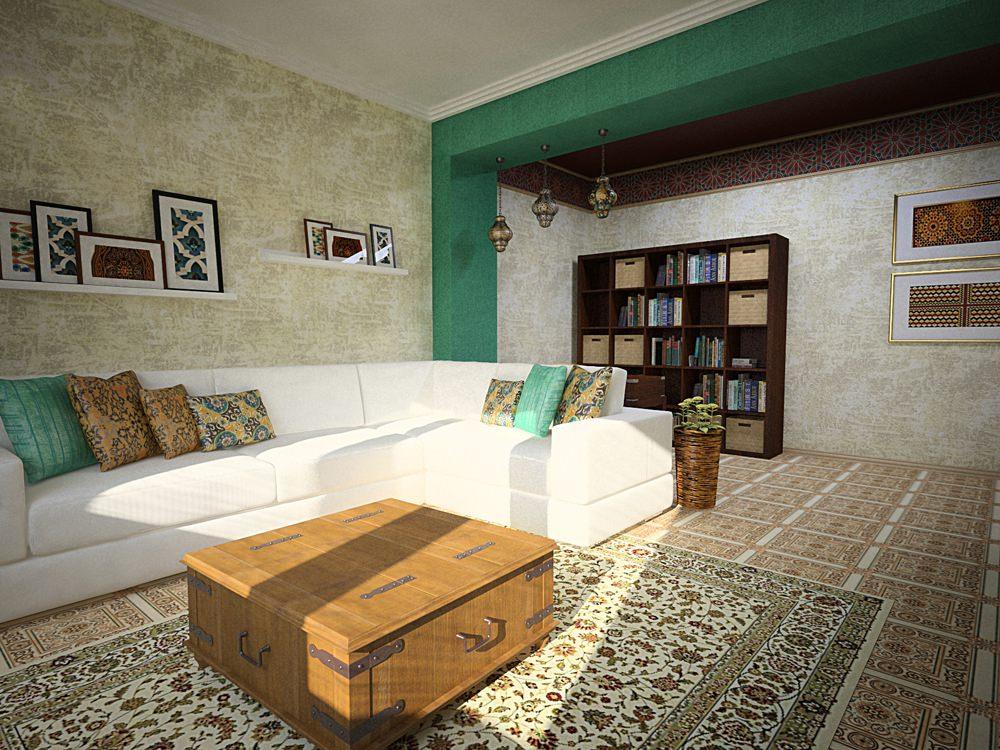 Белый диван в гостиной марокканского стиля