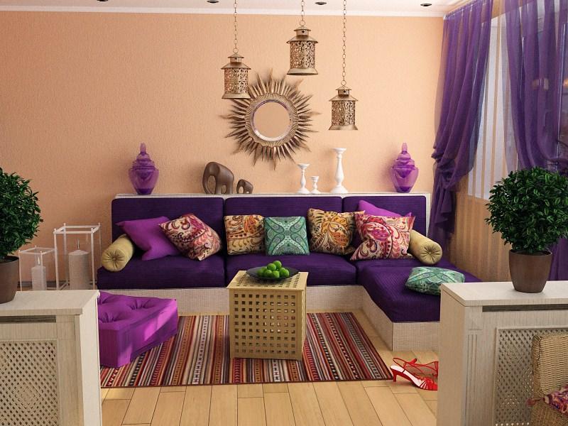 Диван с фиолетовыми подушками в дизайне марокканской гостиной
