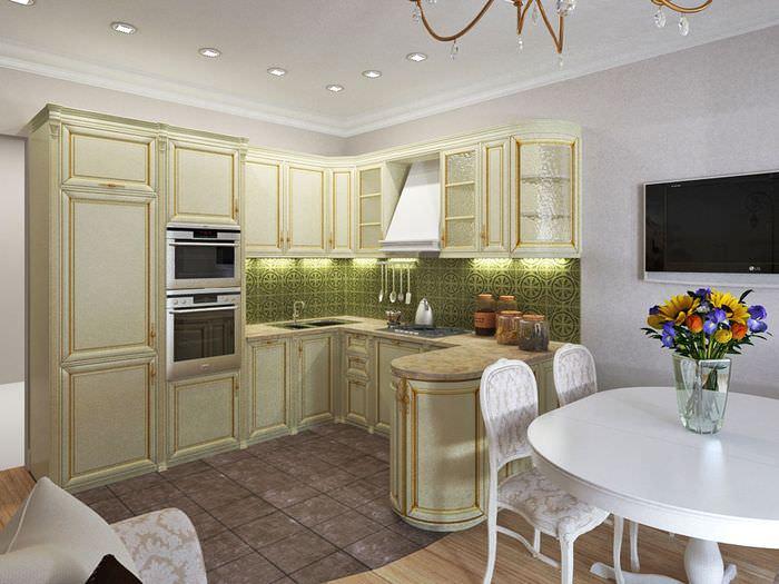 Дизайн небольшой кухни гостиной в классическом стиле