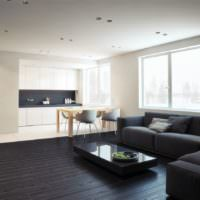 Черный пол в дизайне гостиной частного дома