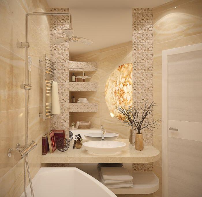 Дизайн ванной комнаты с каменной мозаикой