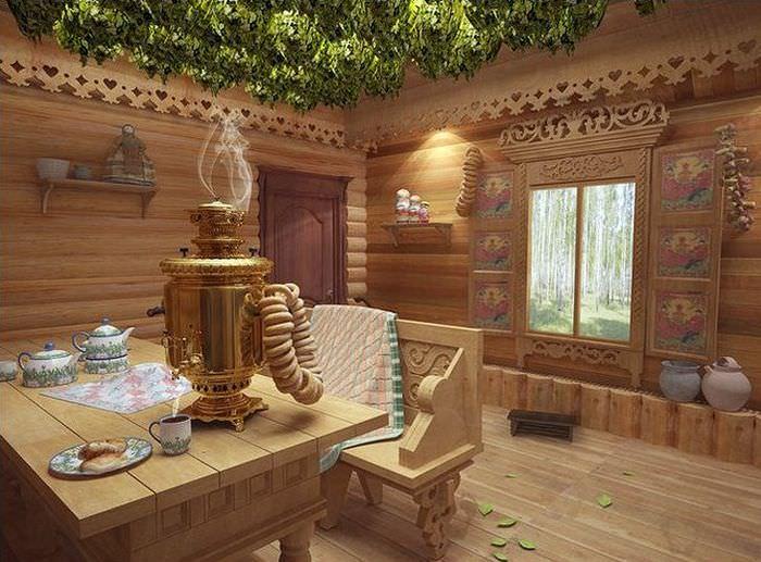 Оформление интерьера комнаты отдыха в русской бане
