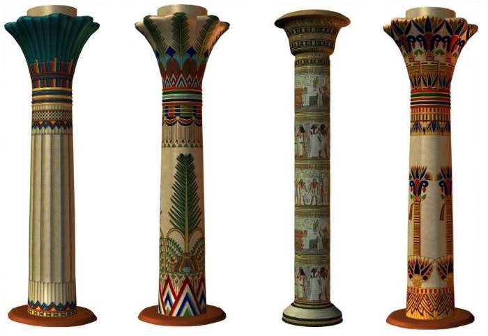 Варианты оформления колонн в египетском стиле
