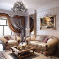Декорирование стены над диваном с помощью картины