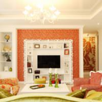 Оранжевый цвет в классической гостиной