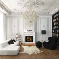 Контрастное сочетание черного и белого цветов в интерьере