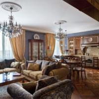 Дерево в интерьере классической гостиной