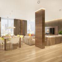 Дизайн гостиной с деревянной колонной