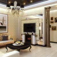 Дизайн-проект гостиной частного дома с колонной в дверном проеме