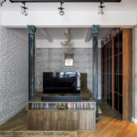 Проект интерьера комнаты с колоннами