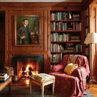 Классический интерьер гостиной в коричневом цвете
