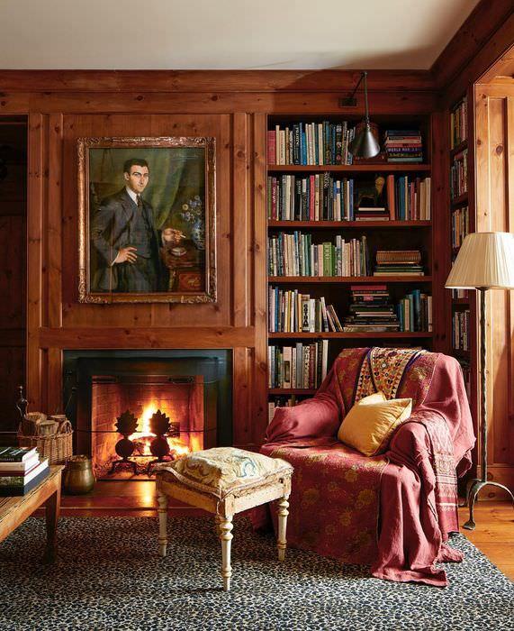 библиотека с камином фото профессиональной фотостудии имеется