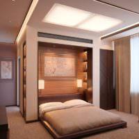 Спальня в стиле минимализма в коричневых оттенках