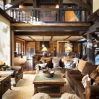 Коричневый цвет в гостиной деревянного дома