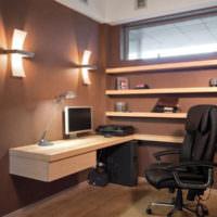 Интерьер рабочего кабинета в коричневом цвете