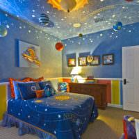 Красивая детская комната в стиле космоса