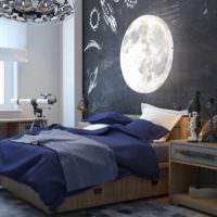 Луна на фотообоях в спальне