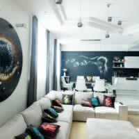Декор гостиной в стиле хай-тек