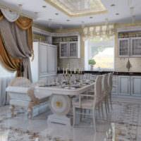 Глянцевый пол на кухне-гостиной