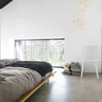 Спальня в стиле минимализма в частном доме