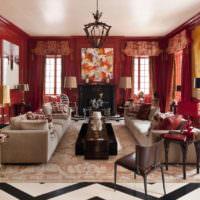 Красный интерьер в современной комнате