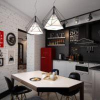 Необычные светильники в освещении кухни