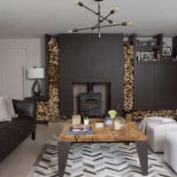 Черный цвет в оформлении интерьера гостиной