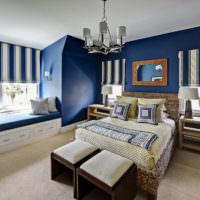 Синие стены в дизайне спальни