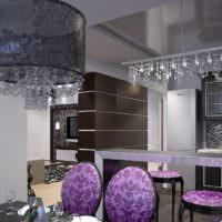 Хрустальные люстры в гостиной стиля модерн