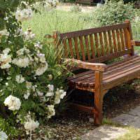 Деревянная скамейка на площадке для отдыха