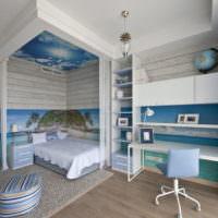 Фотообои в спальне загородного дома