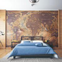 Карта мира на стене спального помещения