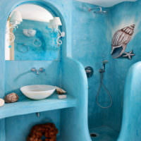 Оригинальный дизайн ванной комнаты в морском стиле