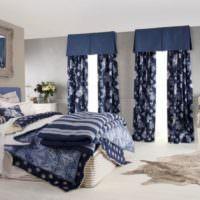 Темно-синий цвет в интерьере спальни