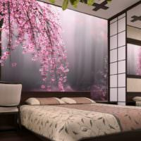Реалистичные фотообои с цветами над изголовьем кровати