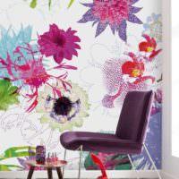 Цветы на обоях в интерьере стиля модерн