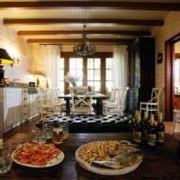 Кухня-гостиная в просторной бане