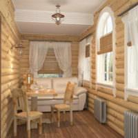 Дизайн-проект просторного предбанника с местом для отдыха