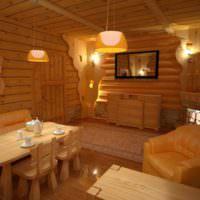 Светильники на потолке в деревянной бане