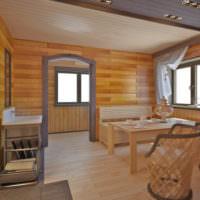 Интерьер современной комнаты отдыха в загородной бане