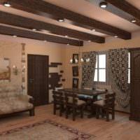 Деревянные балки в комнате отдыха в бане