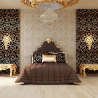 Темная кровать в дизайне спальной комнаты